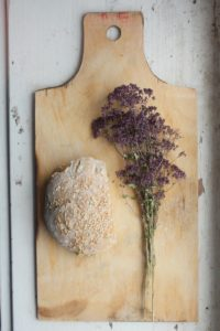 green and purple plant on brown wooden chopping board